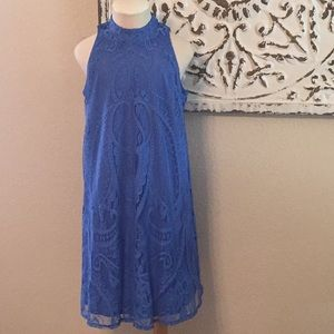 Xhilaration Blue Lace High Neck Dress